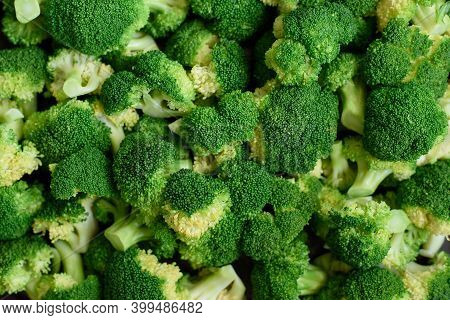 Closeup Macro Shot Of Broccoli Cabbage. Green Healthy Background With Vegetable Broccoli Texture. He