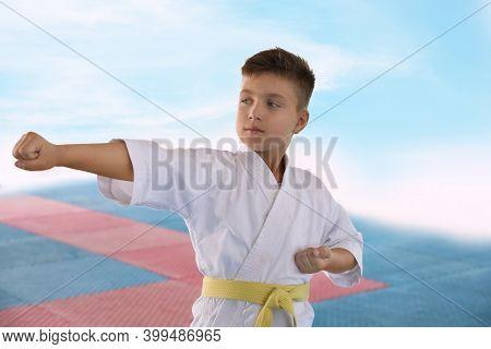 Boy In Kimono Practicing Karate On Tatami Outdoors