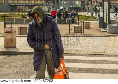 Prague, Czech Republic. 04-17-2020. People Being Precautious While They Move Throughout The City Of