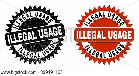 Black Rosette Illegal Usage Watermark. Flat Vector Textured Watermark With Illegal Usage Text Inside