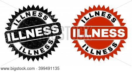 Black Rosette Illness Seal Stamp. Flat Vector Scratched Seal Stamp With Illness Text Inside Sharp Ro