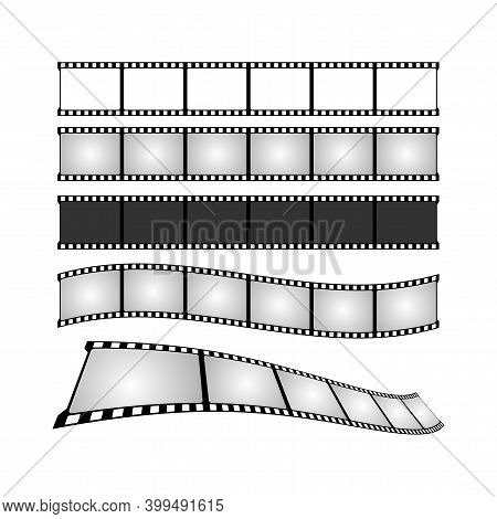Movie Tape Set Illustration. Cinema Poster Concept. Banner Design For Movie Theater.
