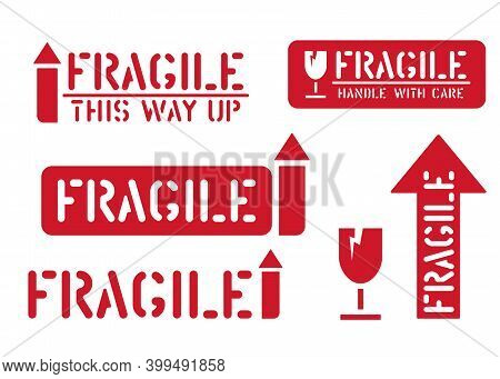 Fragile, This Way Up, Handle With Care. Set Of Cargo Sticker And Box Signs For Logistics. Vector