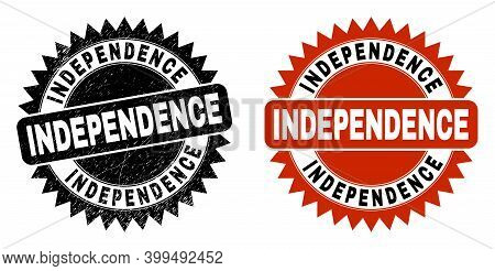Black Rosette Independence Seal. Flat Vector Textured Seal Stamp With Independence Phrase Inside Sha