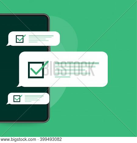 Line Survey Laptop In Flat Style Green Background. Vector Icon. Vector Flat. Line Icon. Computer Scr