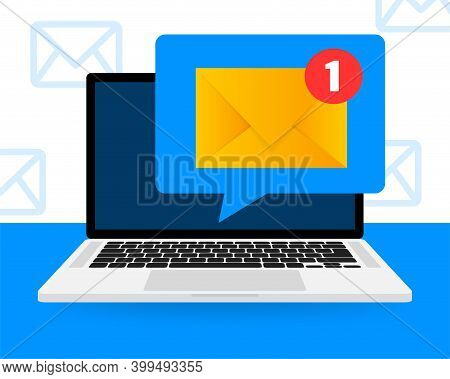 New Message Icon On Screen Of Laptop. Smartphone, Mobile, Laptop. New Nessage In Flat Style. Vector
