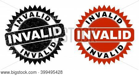 Black Rosette Invalid Seal. Flat Vector Grunge Seal With Invalid Caption Inside Sharp Rosette, And O