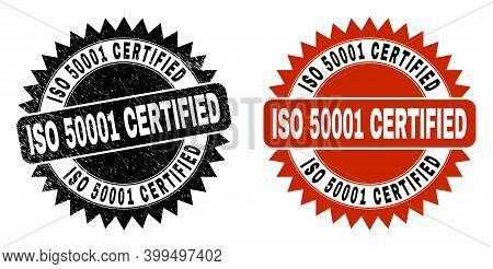 Black Rosette Iso 50001 Certified Watermark. Flat Vector Distress Watermark With Iso 50001 Certified
