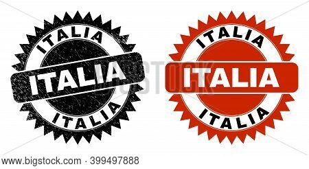 Black Rosette Italia Seal Stamp. Flat Vector Scratched Seal Stamp With Italia Title Inside Sharp Sta
