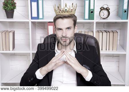 I Am Big Boss Here. Big Boss In Office. Big Boss Wear Crown On Head. Director Or Big Boss. Confident