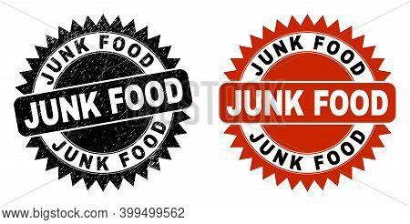 Black Rosette Junk Food Seal. Flat Vector Scratched Seal Stamp With Junk Food Message Inside Sharp S