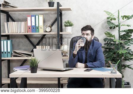 Sleepy Half-awake Bearded Hipster In Formalwear Drink Takeaway Coffee In Workplace, Caffeine.