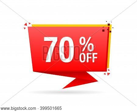 Trendy Flat Advertising With Red 70 Percent Discount Flat Badge For Promo Design. Poster Badge. Busi