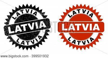 Black Rosette Latvia Seal Stamp. Flat Vector Grunge Seal With Latvia Caption Inside Sharp Rosette, A