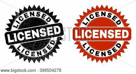 Black Rosette Licensed Seal Stamp. Flat Vector Scratched Seal Stamp With Licensed Caption Inside Sha