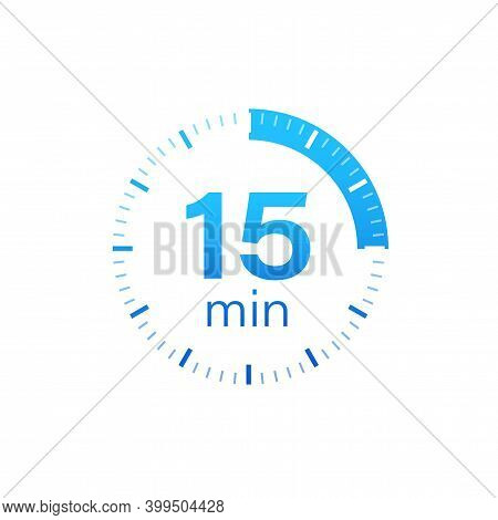 The 15 Minutes, Stopwatch Vector Icon. Stopwatch Icon In Flat Style On A White Background. Vector St