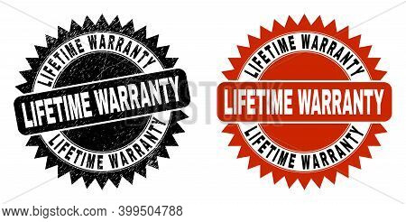 Black Rosette Lifetime Warranty Seal Stamp. Flat Vector Textured Watermark With Lifetime Warranty Me