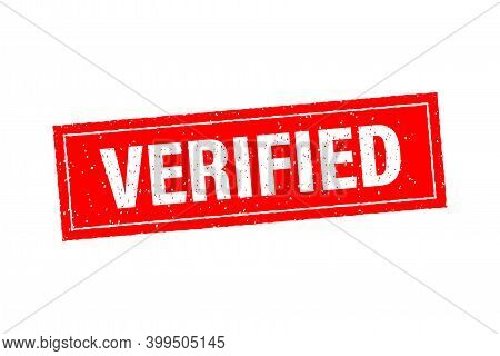 Vintage Verified, Great Design For Any Purposes. Template On Red Backdrop. Vector Illustration Templ