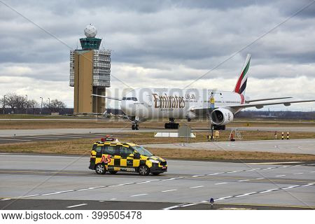 BUDAPEST, HUNGARY - CIRCA 2016: Airliner of Emirates taxiing at Budapest Liszt Ferenc Airport. Being 777-300.