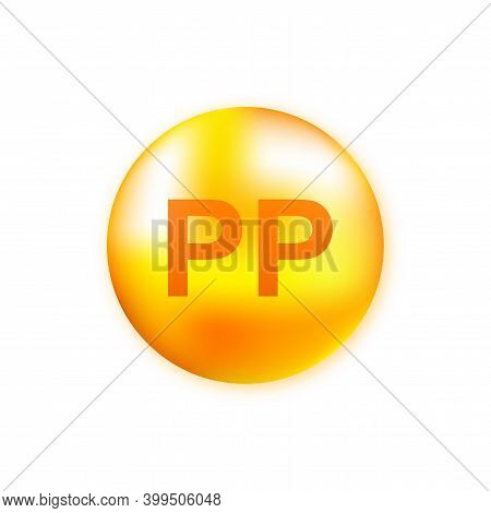 Vitamin Complex Pp With Realistic Drop On Gray Background. Particles Of Vitamins In The Middle. Vect