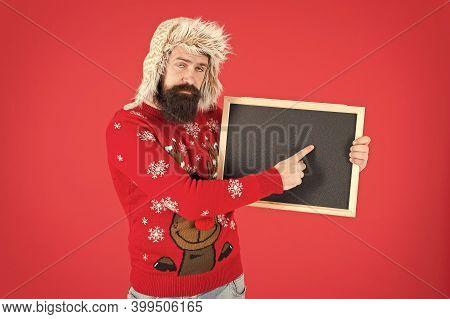 Teaching Training Course. Bearded Man Point Finger At Blank Blackboard. Advertising Training School.