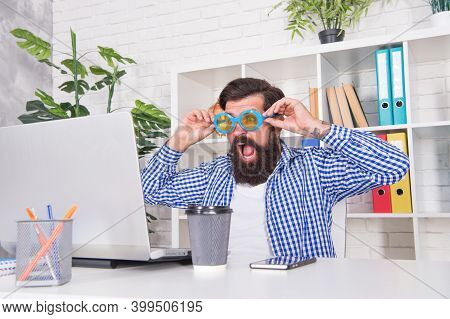Wow. Surprised Blogger Look At Laptop Screen With Open Mouth. Reading News Blog On Internet. Busines