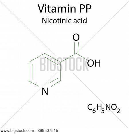 Nicotinic Acid For Medical Design. Outline Symbol. Medical Research. Molecular Structure Pp. Stock I