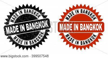 Black Rosette Made In Bangkok Seal Stamp. Flat Vector Grunge Seal Stamp With Made In Bangkok Text In