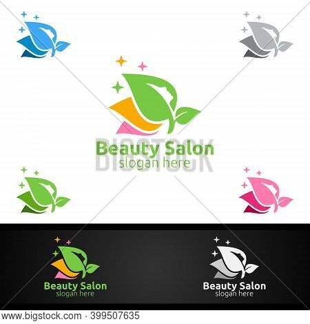 Natural Salon Fashion Logo For Beauty Hairstylist, Cosmetics, Or Boutique