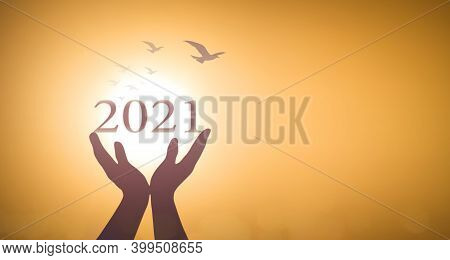 New Year 2021 Concept: Silhouette Hands Show 2021 Against Birds Flying On Blurred Yellow Sunrise Bac