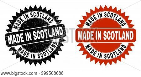 Black Rosette Made In Scotland Stamp. Flat Vector Scratched Seal Stamp With Made In Scotland Text In