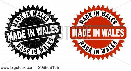 Black Rosette Made In Wales Seal Stamp. Flat Vector Distress Watermark With Made In Wales Text Insid