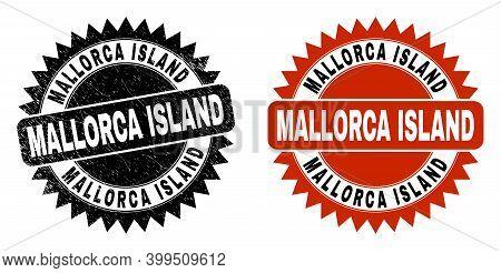 Black Rosette Mallorca Island Watermark. Flat Vector Distress Seal With Mallorca Island Title Inside
