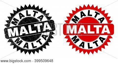 Black Rosette Malta Watermark. Flat Vector Distress Watermark With Malta Phrase Inside Sharp Rosette