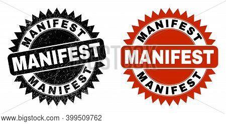 Black Rosette Manifest Seal Stamp. Flat Vector Textured Seal Stamp With Manifest Phrase Inside Sharp
