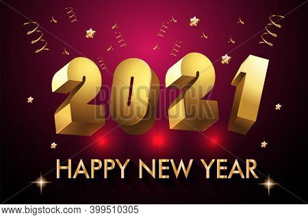 2021 New Year 3d Number Design Poster On Red Violet Colour Background - Happy New Year 2021 3d Poste