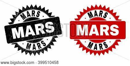 Black Rosette Mars Watermark. Flat Vector Grunge Watermark With Mars Title Inside Sharp Rosette, And