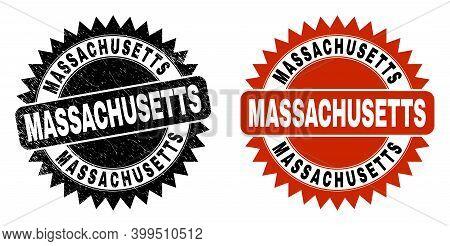 Black Rosette Massachusetts Stamp. Flat Vector Grunge Seal Stamp With Massachusetts Title Inside Sha