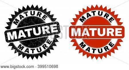 Black Rosette Mature Seal Stamp. Flat Vector Grunge Watermark With Mature Message Inside Sharp Roset