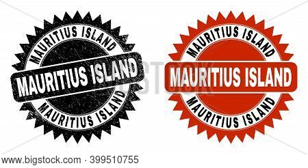 Black Rosette Mauritius Island Watermark. Flat Vector Scratched Seal Stamp With Mauritius Island Cap