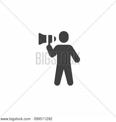 Orator, Speaker Vector Icon. Filled Flat Sign For Mobile Concept And Web Design. Man With Megaphone