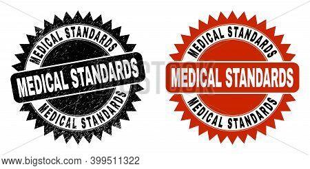 Black Rosette Medical Standards Watermark. Flat Vector Scratched Watermark With Medical Standards Ph