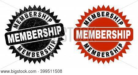 Black Rosette Membership Stamp. Flat Vector Distress Seal Stamp With Membership Text Inside Sharp Ro