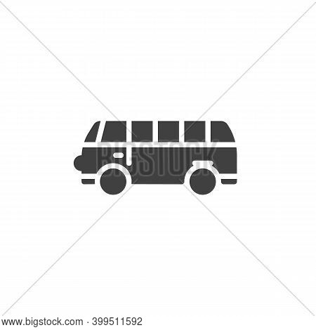 Mini Bus Vector Icon. Filled Flat Sign For Mobile Concept And Web Design. Mini Van Bus Glyph Icon. S