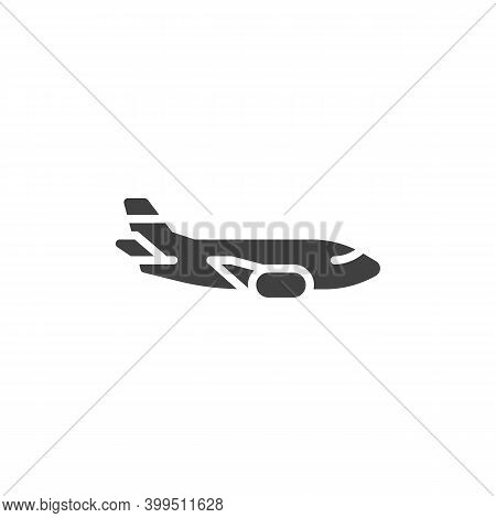 Airplane Side View Vector Icon. Filled Flat Sign For Mobile Concept And Web Design. Aircraft Plane G