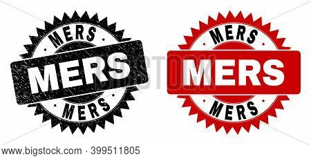 Black Rosette Mers Seal Stamp. Flat Vector Textured Seal Stamp With Mers Phrase Inside Sharp Rosette