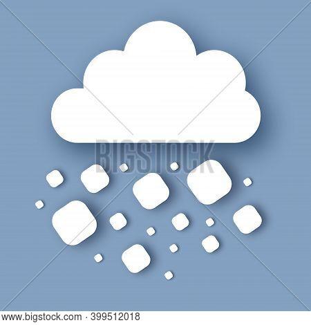 Hail Storm. Rain Clouds. Paper Cut Weather.
