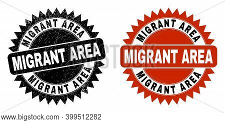 Black Rosette Migrant Area Watermark. Flat Vector Distress Stamp With Migrant Area Title Inside Shar