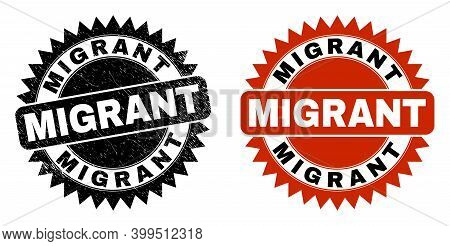 Black Rosette Migrant Seal. Flat Vector Scratched Seal With Migrant Text Inside Sharp Rosette, And O