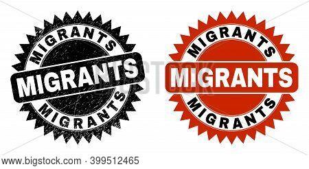 Black Rosette Migrants Seal Stamp. Flat Vector Scratched Seal With Migrants Title Inside Sharp Roset